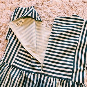 Listicle Dresses - Listicle Gray & Beige Stripe Pocket Babydoll Dress